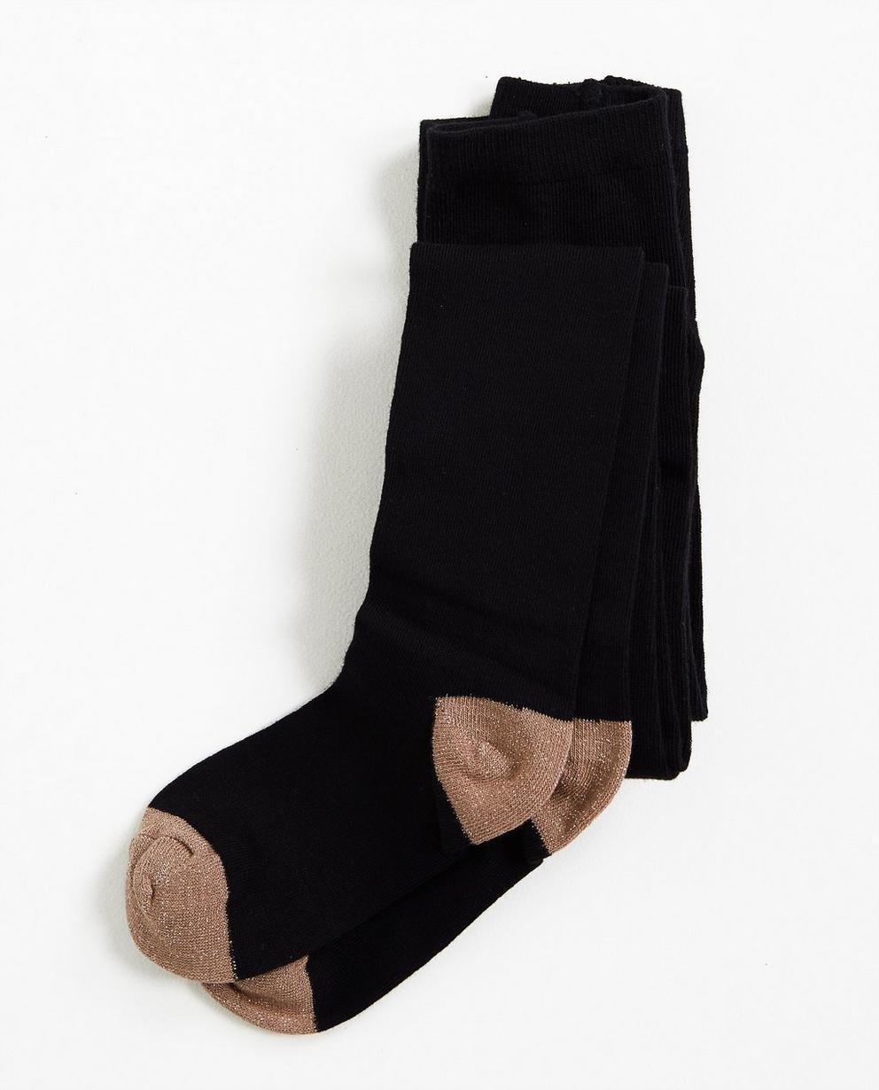 Zwarte kousenbroek - met beige teen + hiel - Grogy